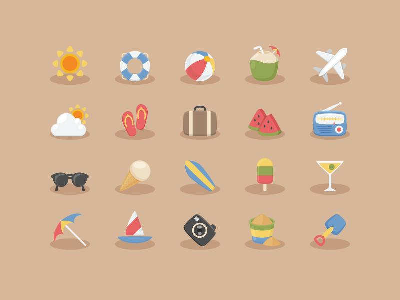 Free Vacation Icon Set