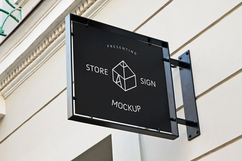 Photo-realistic Store Sign Mockup PSD