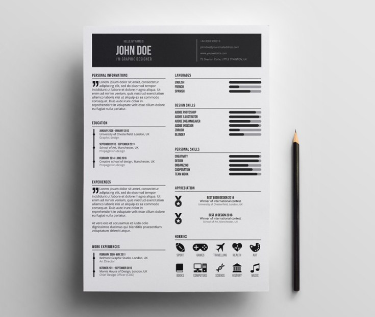 Minimal Illustrator Resume Template - Free Download | Freebiesjedi