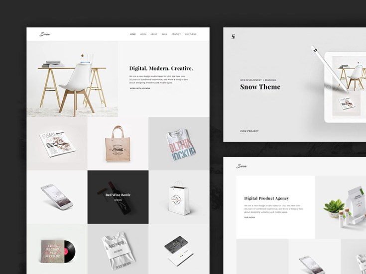 Snow : Simple Portfolio PSD Template