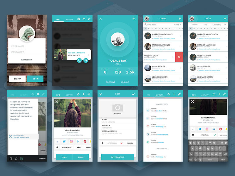Social Leads : Free Sketch Mobile UI Kit