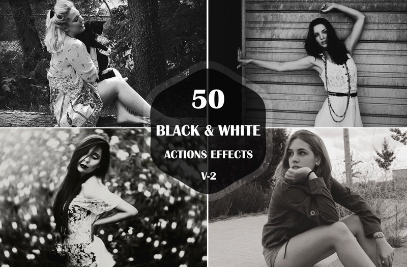 50 Free Black and White Photoshop Action