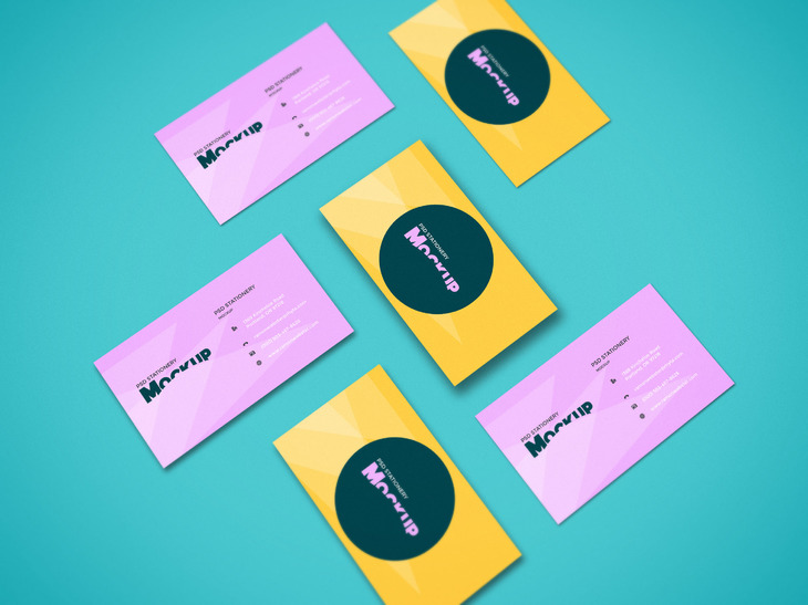 Clean Perspective Business Cards Mockup