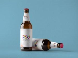 Free Double Beer Bottle Mockup
