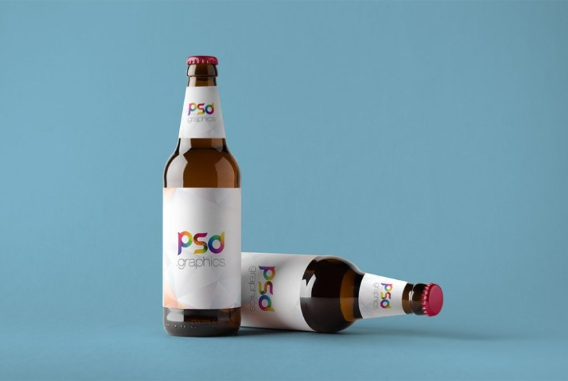 Double Beer Bottle Mockup