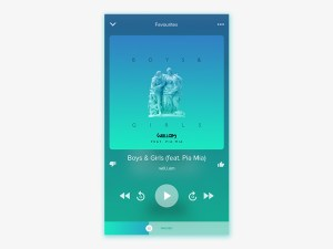 Free Flat Music Player UI PSD