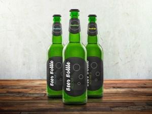 Free Glass Beer Bottle Mockup
