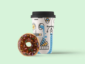 Free Paper Coffee Cup Mockup with Donut