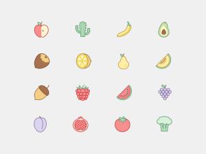 Free Plants and Fruit Icon Set