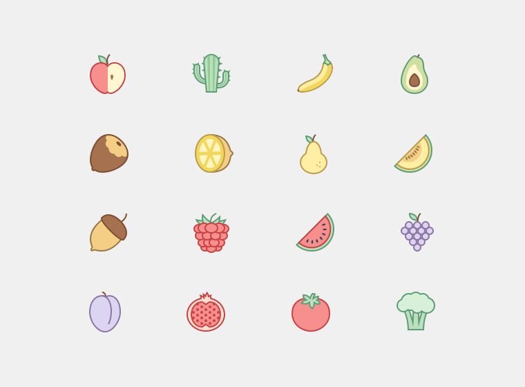 Plants and Fruit Icon Set