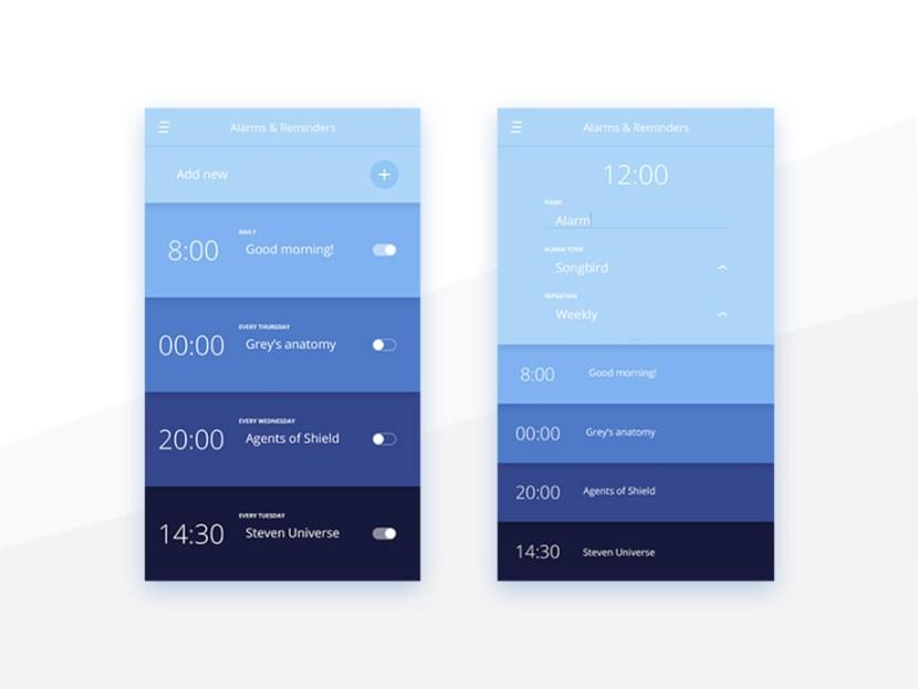 Reminder App UI Design PSD