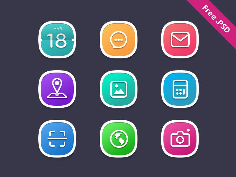 Rounded Colorful Icon Set