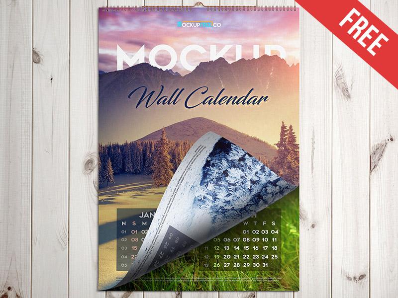 Wall Calendar Mockup PSD