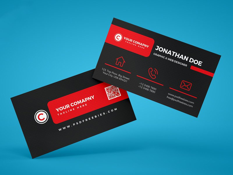 Black Red Business Card Template