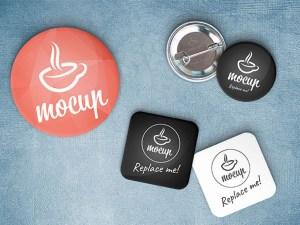 Free Button Badge Mockup
