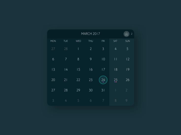 Clean Dark Calendar UI