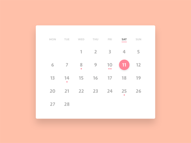 clean mobile app calendar ui