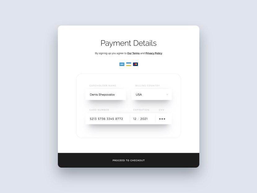 Free Credit Card Form UI PSD