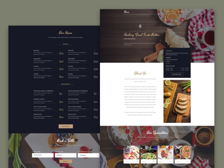Fesco Free PSD Restaurant Web Template