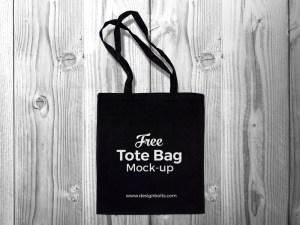 Free Black Tote Bag Mockup