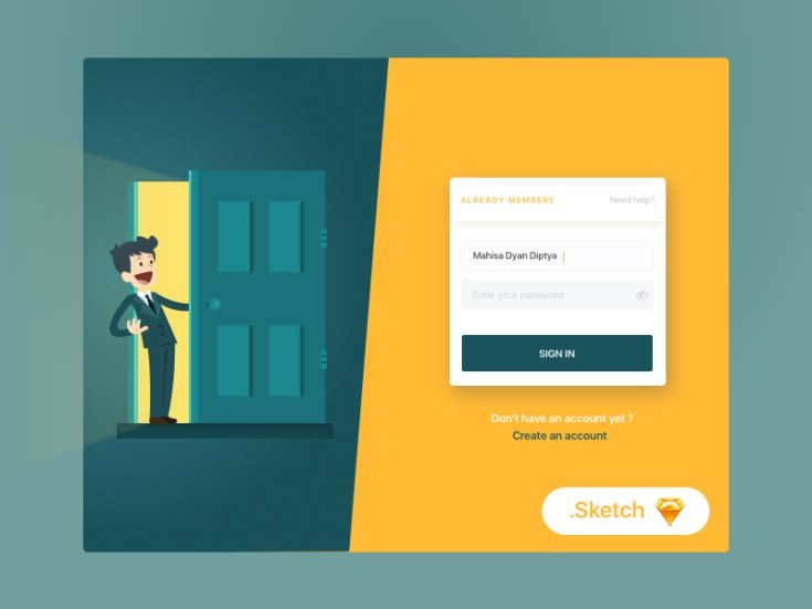 Free Flat Login Page Illustration