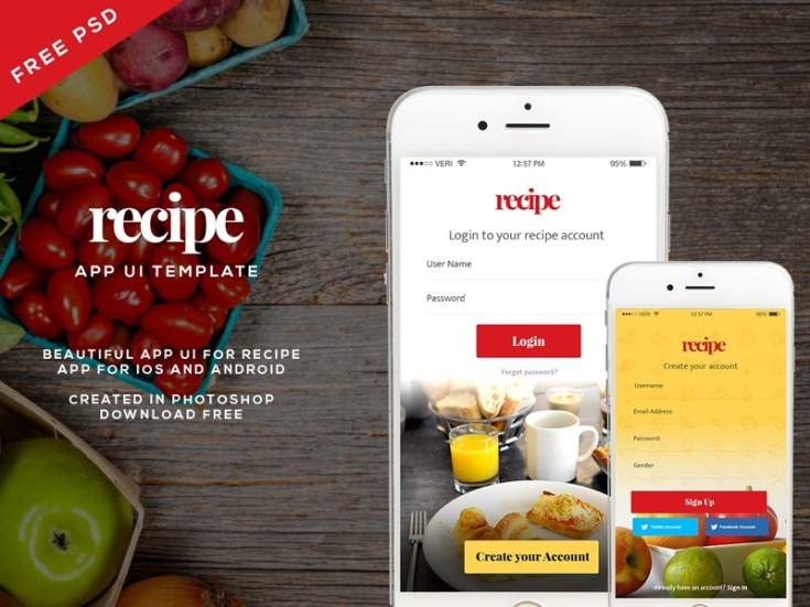 Free Recipe App UI Kit PSD