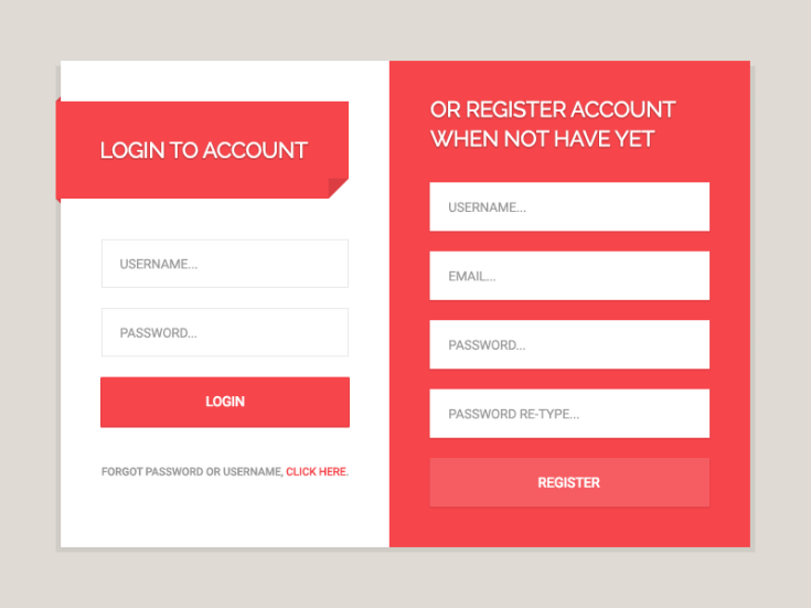 Login & Register Form UI PSD