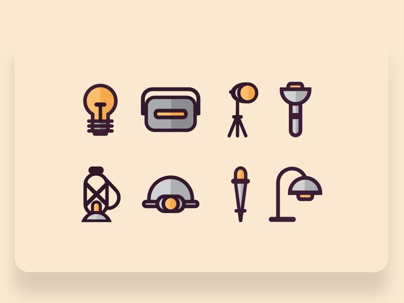 Retro Style Flat Light Source Icons