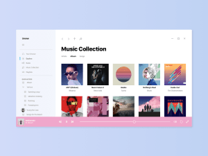 Free Windows 10 Acrylic Music App UI Sketch