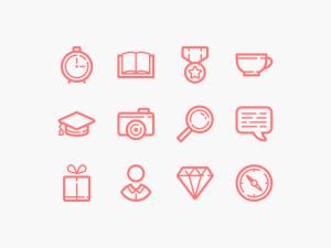 free line icon set