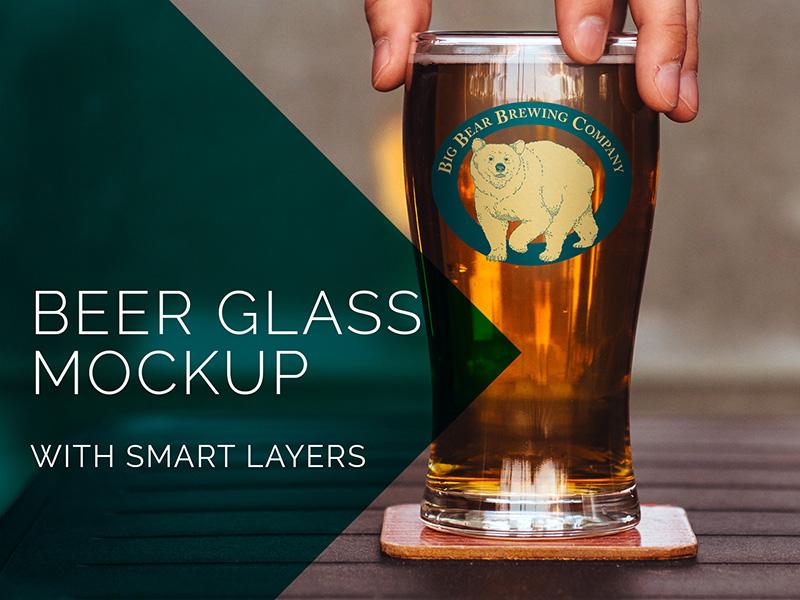Beer Glass Mockup PSD