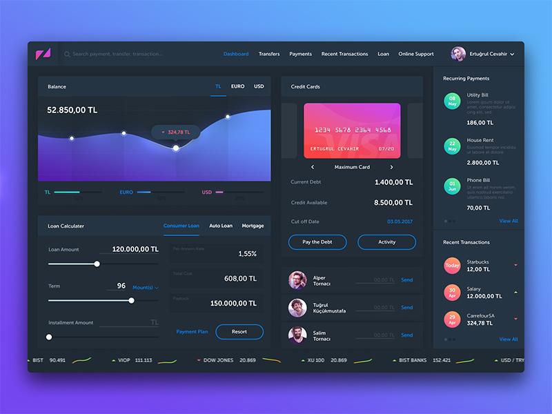 Free Finance Dashboard UI PSD