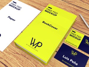 Free Book, Cards Paper Mockup PSD