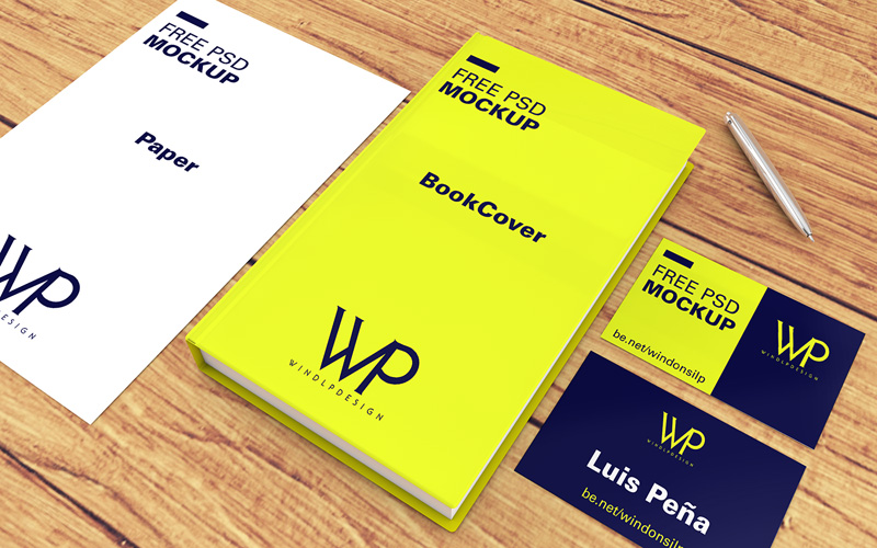 Free Book, Cards & Paper Mockup PSD