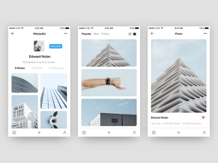 Photo App UI Concept Tempate