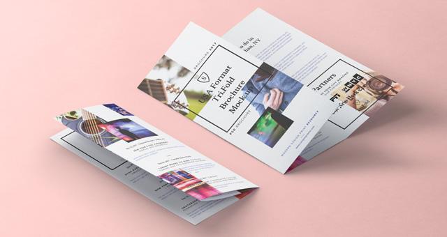 Tri-fold PSD Brochure Mockup (US letter 8.5×11 inch)