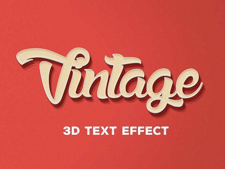 Free 3D Vintage Text Effect