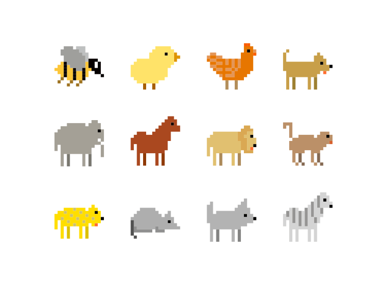 Animals Pixel Art Icon Set