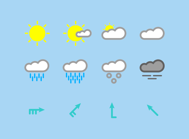 Colored Weather Icon Set