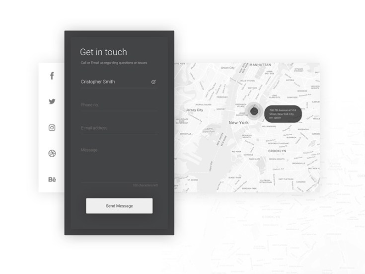 Free Contact with Map UI