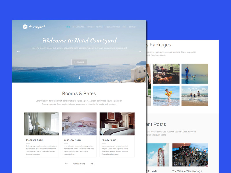 Courtyard : Free Responsive Hotel WordPress Theme