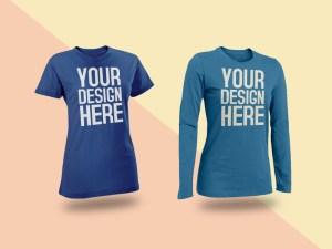 Free Female T-Shirt Mockup PSD