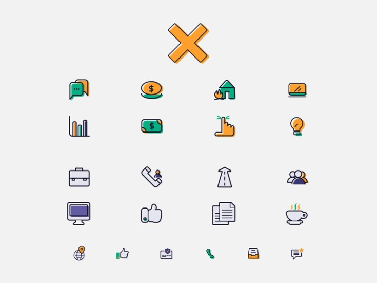Finance Icon Set PSD