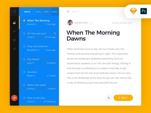 Free Email App UI (PSD and Sketch)