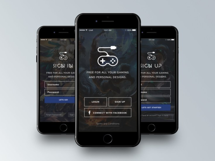 Gaming App Register and Sign Up Screens