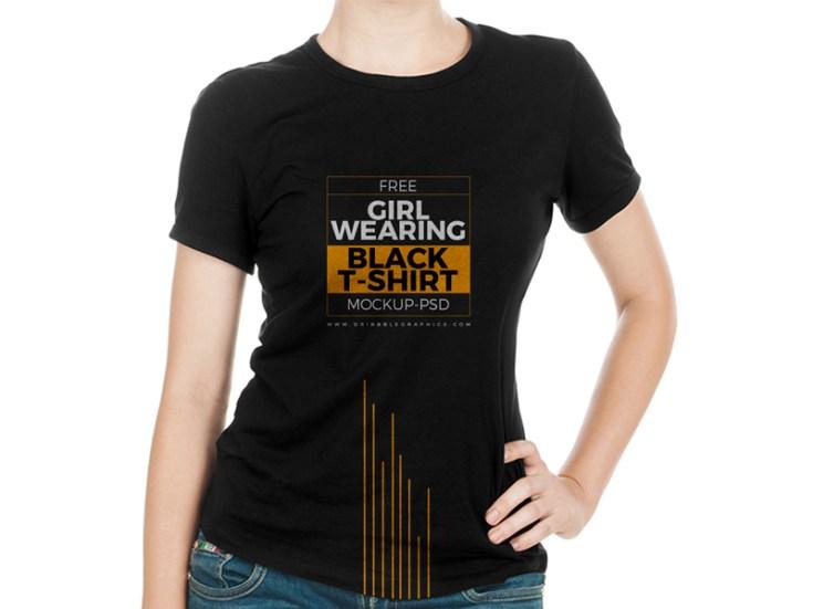 Free Professional Girl T-Shirt Mockup PSD