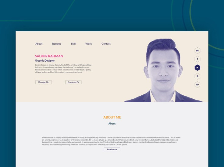 Minimal Resume PSD Website Template