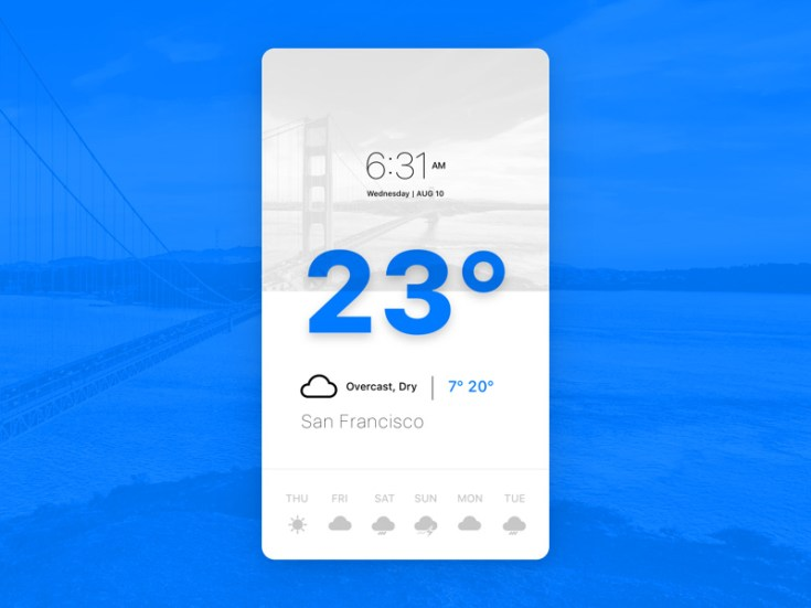Minimal Weather iOS App UI