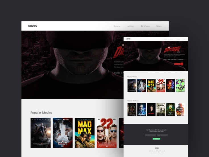 movie landing page website template free download freebiesjedi