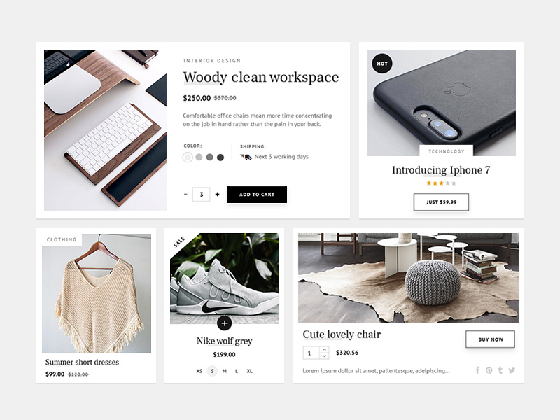 Simple Ecommerce UI Kit PSD